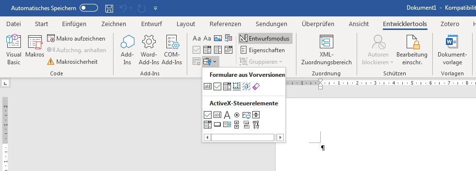 Entwicklertools in Word