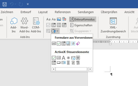 Entwicklertools in Word